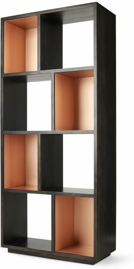 An Image of Anderson Narrow Bookcase, Grey Mango wood and Copper