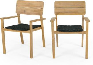 An Image of Jala Garden Set of 2 Dining Carver Chair, Acacia wood and Spun polyester