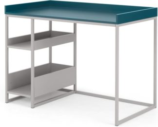 An Image of MADE Essentials Yumi Desk, Grey and Blue