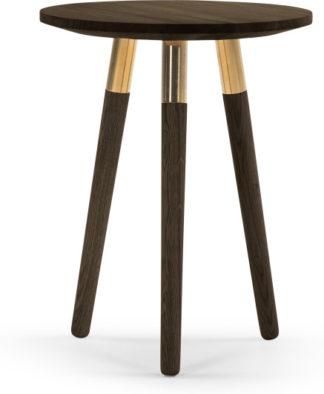 An Image of Range Side Table, Dark Stain Ash Veneer and Brass