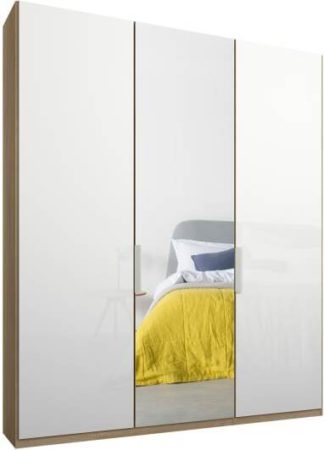 An Image of Caren 3 door 150cm Hinged Wardrobe, Oak Frame, White Glass & Mirror Doors, Classic Interior