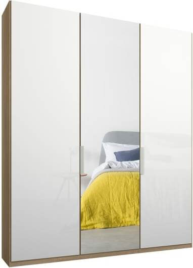 An Image of Caren 3 door 150cm Hinged Wardrobe, Oak Frame, White Glass & Mirror Doors, Standard Interior