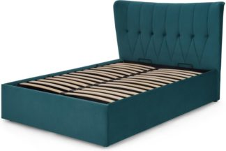 An Image of Charley King Size Bed with Ottoman Storage, Seafoam Blue Velvet
