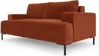 An Image of Frederik 2 Seater Sofa, Nutmeg Orange Velvet