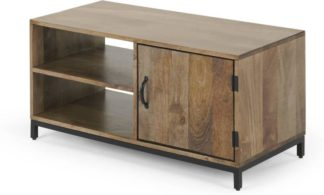 An Image of Lomond Compact TV Stand, Mango Wood and Black
