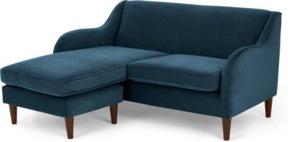 An Image of Helena Chaise End Corner Sofa, Plush Teal Velvet