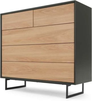 An Image of Lincoln Chest Of Drawers, Oak & Grey