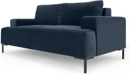 An Image of Frederik 2 Seater Sofa, Sapphire Blue Velvet