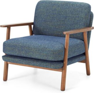An Image of Lars Accent Chair, Revival Blue and Walnut Stain