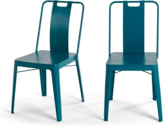 An Image of Set of 2 Edny Metal Chairs, Teal