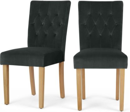 An Image of Set of 2 Flynn Dining Chairs, Midnight Grey Velvet and Birch