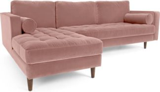An Image of Scott 4 Seater Left Hand Facing Chaise End Corner Sofa, Blush Pink Cotton Velvet
