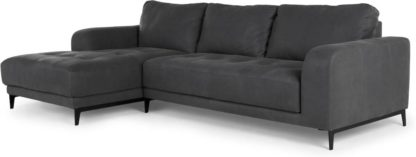 An Image of Luciano Left Hand Facing Chaise End Corner Sofa, Grey Leather