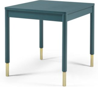 An Image of Alina 4 Seat Square Compact Dining Table, Teal and Brass