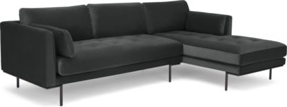 An Image of Harlow Right Hand Facing Chaise End Corner Sofa, Midnight Grey Velvet