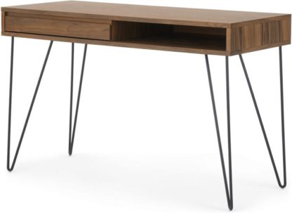 An Image of Cerian Desk, Walnut and Black