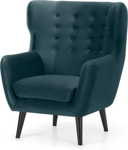 An Image of Kubrick Wing Back Chair, Steel Blue Velvet with Black Stain Leg