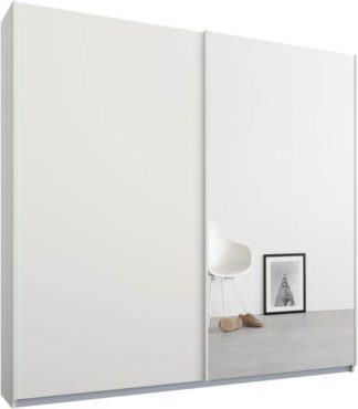 An Image of Malix 2 door 181cm Sliding Wardrobe, White frame,Matt White & Mirror doors , Classic Interior