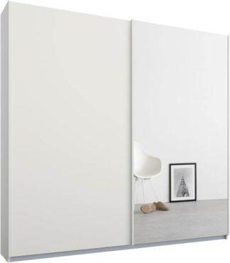 An Image of Malix 2 door 181cm Sliding Wardrobe, White frame,Matt White & Mirror doors, Standard Interior