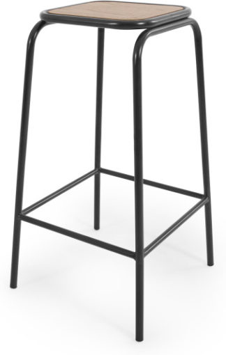An Image of Wigbert Barstool, Oak and Black