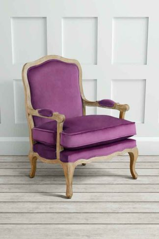 An Image of Le Brun - French Oak Purple Occasional Armchair