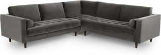 An Image of Scott Corner Sofa, Concrete Cotton Velvet