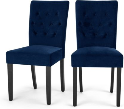 An Image of Flynn Set of 2 Dining Chairs, Royal Blue Velvet