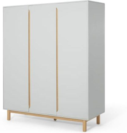 An Image of Jayden 3 Door Wardrobe, Grey & Oak
