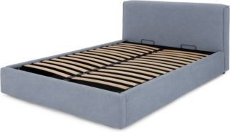 An Image of Bahra Double Bed with Ottoman Storage, Washed Blue Cotton