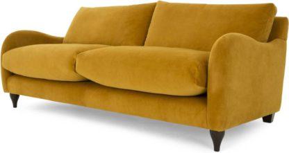 An Image of Sofia 3 Seater Sofa, Plush Turmeric Velvet