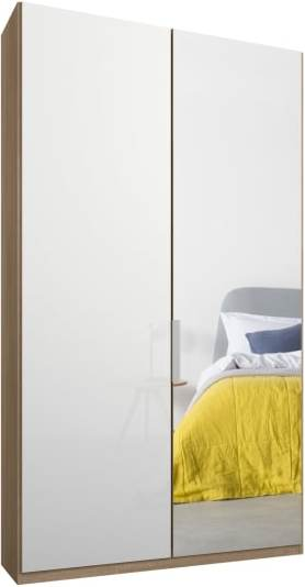An Image of Caren 2 door 100cm Hinged Wardrobe, Oak Frame, White Glass & Mirror Doors, Premium Interior