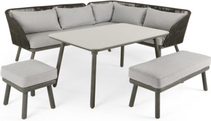 An Image of Alif Garden Corner Dining Set, Concrete Grey and Grey Eucalyptus