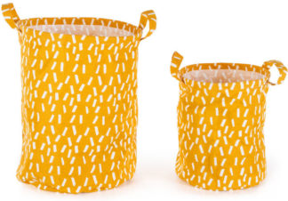 An Image of Ludo 100% Cotton Set of 2 Printed Storage Bag, Mustard Yellow