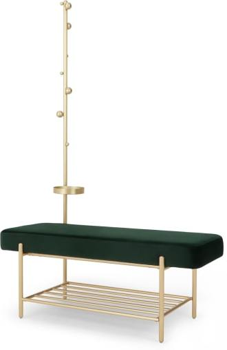 An Image of Asare Hallway Storage Bench, Pine Green Velvet & Brass