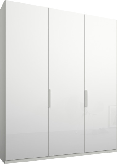 An Image of Caren 3 door 150cm Hinged Wardrobe, White Frame, White Glass Doors, Classic Interior