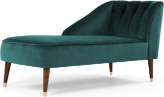 An Image of Margot Left Hand Facing Chaise Longue, Peacock Blue Velvet
