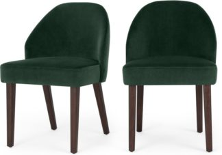An Image of Set of 2 Alec Dining Chairs, Pine Green Velvet and Dark Stain