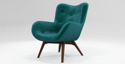 An Image of Custom MADE Doris Accent Chair, Tuscan Teal Velvet with Dark Wood Legs