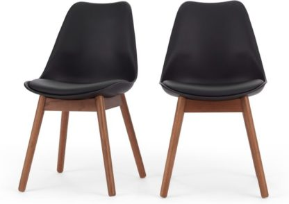 An Image of Set of 2 Thelma Dining Chairs, Dark Stain Oak and Black