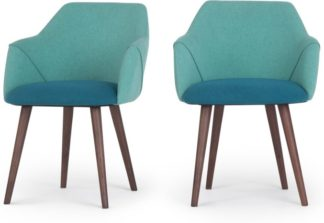 An Image of Set of 2 Lule Carver Dining Chairs, Mineral Blue and Emerald Green