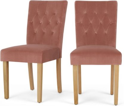 An Image of Set of 2 Flynn Dining Chairs, Blush Pink Velvet and Birch