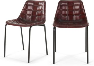 An Image of Set of 2 Sudel Dining Chairs, Ox Red Leather
