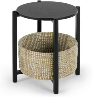 An Image of Pipel Bedside Table, Black Stain and Rattan