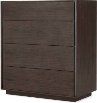 An Image of Lecki Chest Of Drawers, Walnut & Stainless Steel