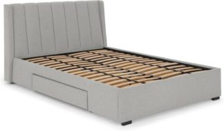 An Image of Bremen Double Bed with Drawer Storage, Cool Grey