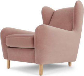 An Image of Rubens Wingback Armchair, Vintage Pink Velvet