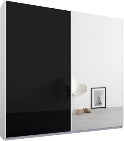An Image of Malix 2 door 181cm Sliding Wardrobe, White frame,Basalt Grey Glass & Mirror doors , Classic Interior