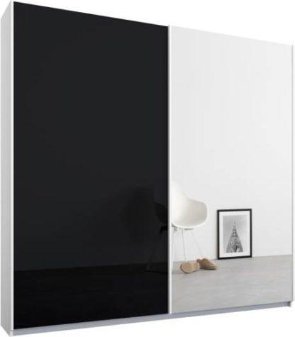 An Image of Malix 2 door 181cm Sliding Wardrobe, White frame,Basalt Grey Glass & Mirror doors, Standard Interior