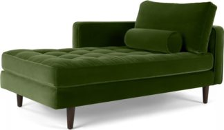 An Image of Scott Left Hand Facing Chaise Longue, Cotton Velvet Grass