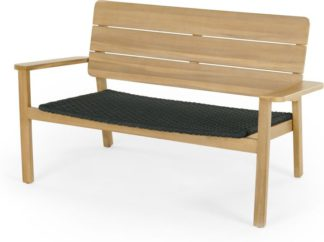 An Image of Jala Garden Lounge Bench, Acacia Wood and Spun Polyester